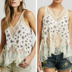 Free People Purple and Cream Lace Tank Top